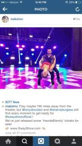 Tony Dovolani flew with Maks to Bloomington, IL to get in extra rehearsal time for SWAY