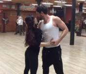 Meryl and Maks still from 'The Making of SWAY' rehearsal.